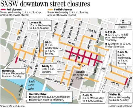 SXSW 2010 road closures